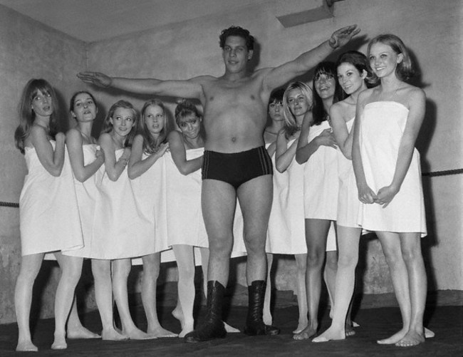 Andre the Giant at a Paris Fashion Show in 1966.