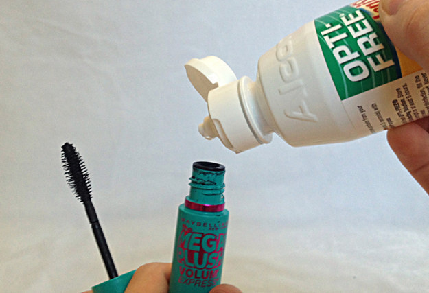 Save clumpy mascara by adding contact lens solution to the tube.