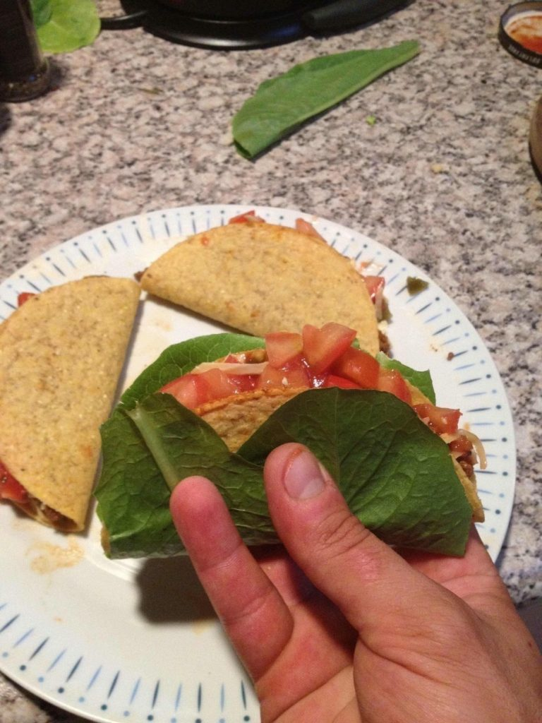 Keep your taco from falling apart by wrapping lettuce around it.