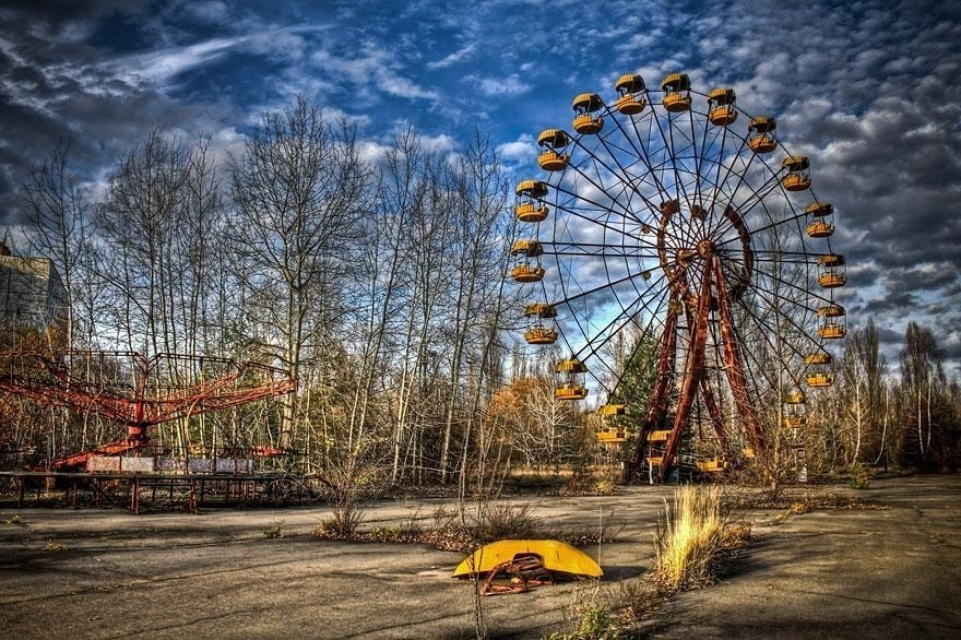 #1 Pripyat, Ukraine was a city with a population of 50,000. It was totally abandoned after the Chernobyl disaster in 1986. Because of the radiation, it has been untouched ever since and will be for thousands of years.